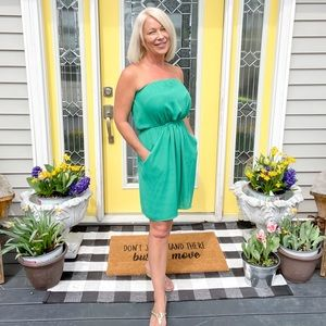 Kelly Green Strapless Sun Dress - with pockets - S